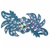 Motif Glitter Leaves with stones 28x13cm Turquoise Crystal Aurora Borealis